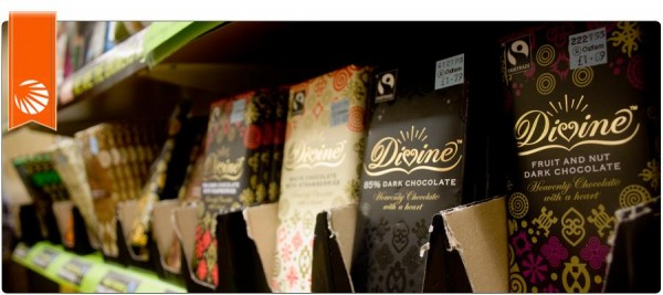 Different bars of delicious Divine chocolate on a shelf